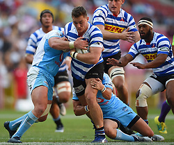 Cape Town-181020 Western Province Dan Kriel  challenged by Vodacom Blue Bulls players  in the Currie Cup Semi-final game at Newlands  .Photographer:Phando Jikelo/African News Agency(ANA)