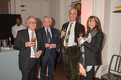 Left to right, FRANK COHEN, DAVID STARKEY, CHARLES SAUMAREZ SMITH and CHERRYL COHEN at a dinner to celebrate Sir David Tang's 20 year patronage of the Royal Academy of Arts and the start of building work on the Burlington Gardens wing of the Royal Academy held at 6 Burlington Gardens, London on 26th October 2015.