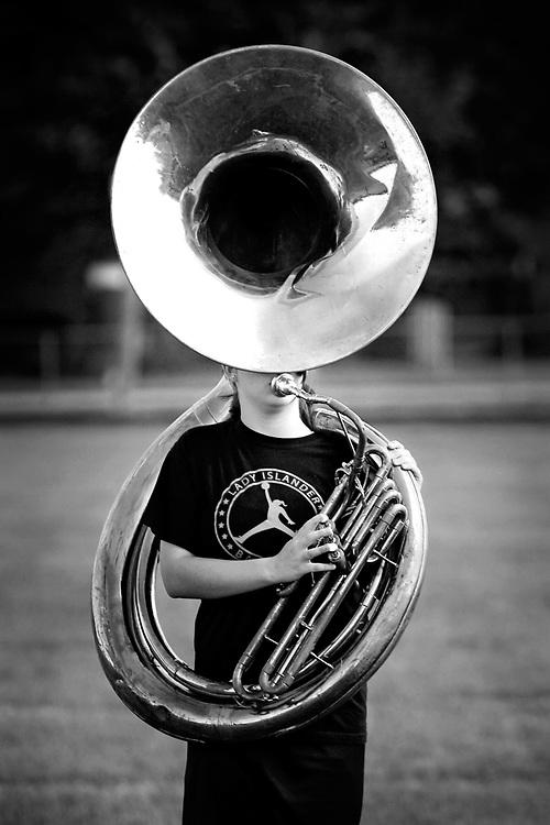 Eighth grader Megan Vaughn plays tuba during band practice at Grand Island Central Catholic Monday morning. (Independent/Matt Dixon)
