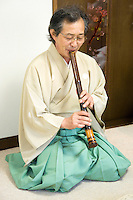"""Shakuhachi, Japanese Flute was originally introduced from China into Japan in the 8th century and became popular in the Edo Period. The shakuhachi is traditionally made of bamboo, but hardwood versions now exist. It was used by the monks of the Fuke school of Zen Buddhism in the practice of suizen """"blowing meditation"""".<br /> The instrument is usually tuned to the minor pentatonic scale."""