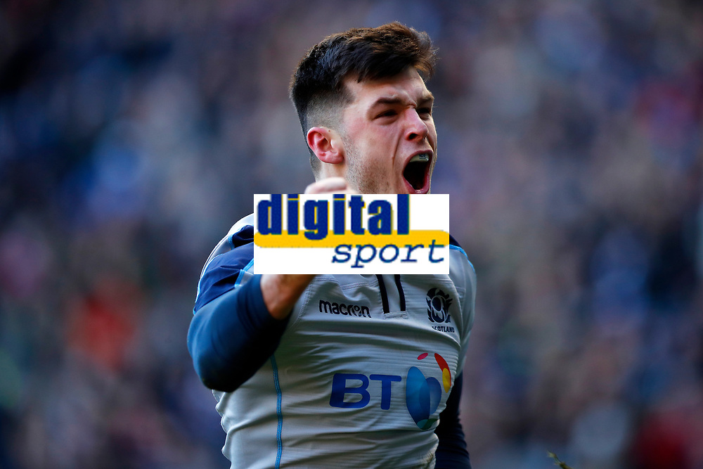 Rugby Union - 2019 Guinness Six Nations Championship - Scotland vs. Italy<br /> <br /> Blair Kinghorn of Scotland scores the first try at Murrayfield.<br /> <br /> COLORSPORT/LYNNE CAMERON