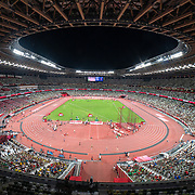 TOKYO, JAPAN August 4:  A general view inside the Olympic Stadium as the 400m semi finals for women take place on the track during the Track and Field competition at the Olympic Stadium  at the Tokyo 2020 Summer Olympic Games on August 4, 2021 in Tokyo, Japan. (Photo by Tim Clayton/Corbis via Getty Images)