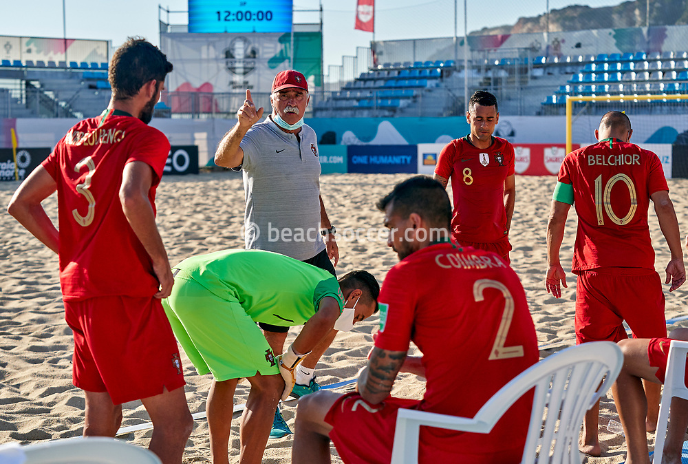 NAZARE, PORTUGAL - SEPTEMBER 6: Mario Narciso the manager of Portugal during day 5 of the Euro Beach Soccer League Superfinal at Estadio do Viveiro on September 6, 2020 in Nazare, Portugal. (Photo by Jose Manuel Alvarez/BSWW)