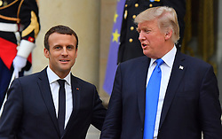 French President Emmanuel Macron and US counterpart Donald Trump at the Elysee palace in Paris, France, on July 13, 2017. President Trump is on a 2-day Officiel Visit in France and will be the parade's guest of honor to commemorate the 100th anniversary of the U.S. entry into World War I. U.S. troops will open the parade Friday as is traditional for the guest of honor. Photo by Christian Liewig/ABACAPRESS.COM