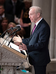 Former United States Senator Joseph Lieberman (Independent Democrat of Connecticut) speaks at the funeral service for the late US Senator John S. McCain, III (Republican of Arizona) at the Washington National Cathedral in Washington, DC, USA on Saturday, September 1, 2018. Photo by Ron Sachs/CNP/ABACAPRESS.COM