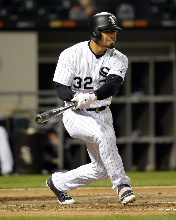CHICAGO - APRIL 21:  Jacob May #32 of the Chicago White Sox bats against the Cleveland Indians on April 21, 2017 at Guaranteed Rate Field in Chicago, Illinois.  (Photo by Ron Vesely)   Subject:  Jacob May