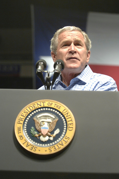 Dallas, TX November 6, 2006: U.S. President George W. Bush rallies the Republican faithful at Reunion Arena on the eve of the mid-term elections.  ©© Bob Daemmrich