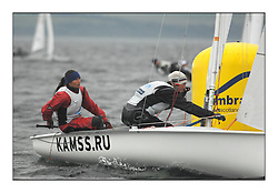 470 Class European Championships Largs - Day 1.Racing in grey and variable conditions on the Clyde...RUS97, Alisa KIRILYUK, Lyudmila DMITRIEVA, Moscow Sailing SChool