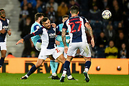 West Bromwich Albion midfielder Robert Snodgrass (23) heads the ball during the EFL Sky Bet Championship match between West Bromwich Albion and Derby County at The Hawthorns, West Bromwich, England on 14 September 2021.
