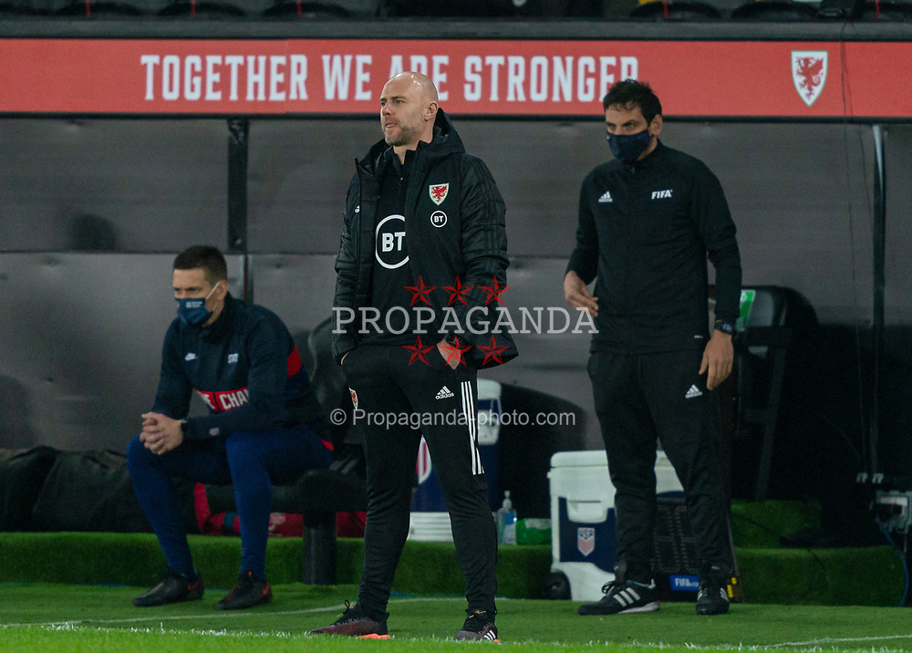 SWANSEA, WALES - Thursday, November 12, 2020: Wales' assistant coach Robert Page during an International Friendly match between Wales and the USA at the Liberty Stadium. (Pic by David Rawcliffe/Propaganda)