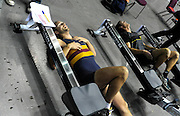 Birmingham, Great Britain,  Exhausted competitors,   at the 2008 British Indoor Rowing Championships, National Indoor Arena. on  Sunday 26.10.2008 . [Photo, Peter Spurrier/Intersport-images] .