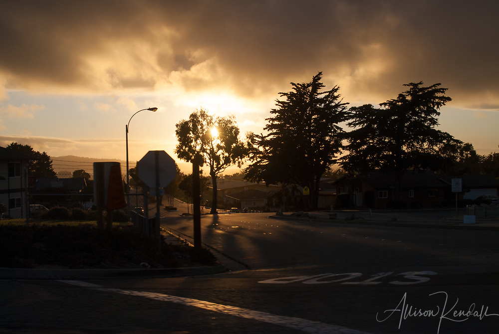 Foggy sunset sky over the city of Seaside, on the Monterey Bay in Central California