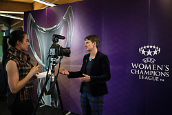 CARDIFF, ENGLAND - Tuesday, February 21, 2017: Laura McAllister CBE is interviewed in Cardiff Library to promote the men's and women's UEFA Champions League Finals being staged in Cardiff this June. (Pic by Paul Greenwood/Propaganda)