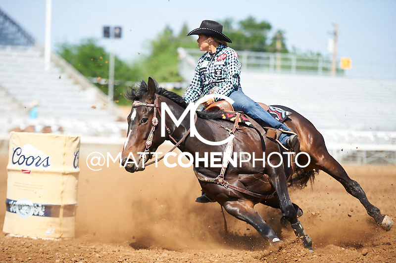 Barrel racer Michele McLeod of Whitesboro, TX competes at the Red Bluff Round-Up at the Tehama District Fairgrounds in Red Bluff, CA.<br /> <br /> <br /> UNEDITED LOW-RES PREVIEW<br /> <br /> <br /> File shown may be an unedited low resolution version used as a proof only. All prints are 100% guaranteed for quality. Sizes 8x10+ come with a version for personal social media. I am currently not selling downloads for commercial/brand use.