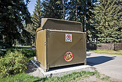 Bear-proof garbage bins in use near Banff and Canmore