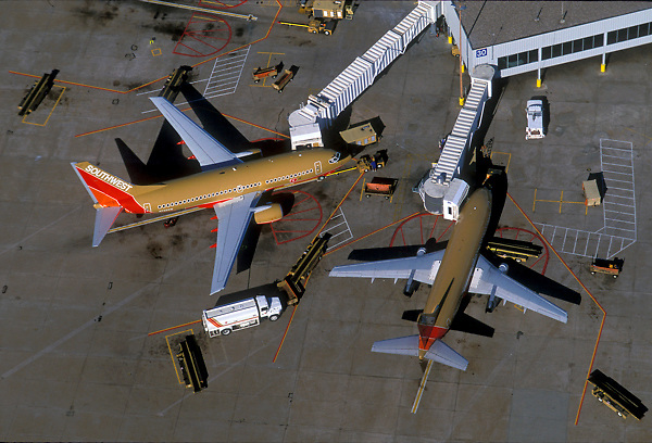 Aerial of Southwest Airlines Airplanes Stationed at George Bush Intercontinental Airport