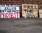 Signs placed at the entrance to Alex Chalk's office (Cheltenham MP) to protest the introduced restrictions in the right to protest. 20/03/2021