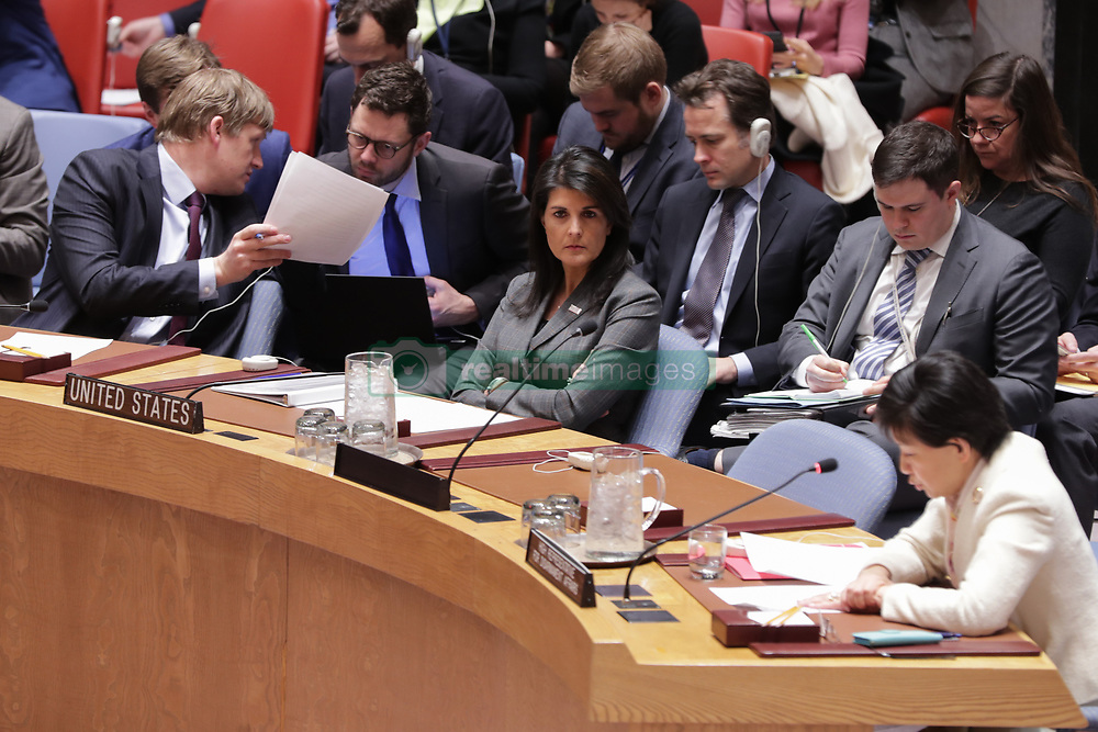 February 5, 2018 - New York, NY, USA - United Nations, New York, USA, February 05 2018 - Nikki Haley Permanent Representative of the United States During the Security Council meeting on the situation in the Middle East and the Use of Chemical Weapons in Syria today at the UN Headquarters in New York..Photo: Luiz Rampelotto/EuropaNewswire (Credit Image: © Luiz Rampelotto via ZUMA Wire)