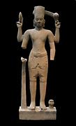 Vishnu in the style of Kulen (800-850) Ssandstone sculpturefrom Cambodia