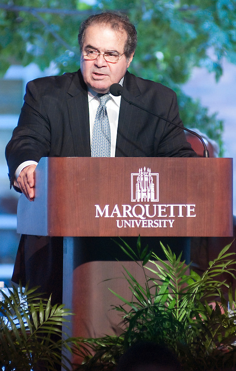 U.S. Supreme Court Justice Antonin Scalia speaks at the dedication of the Ray and Kay Eckstein Hall at Marquette University Law School, .Wednesday, Sept. 8, 2010.