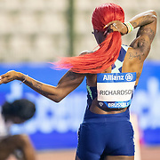 BRUSSELS, BELGIUM:  September 3:   Sha'Carri Richardson of the United States warming up before the 200m for women race during the Wanda Diamond League 2021 Memorial Van Damme Athletics competition at King Baudouin Stadium on September 3, 2021 in  Brussels, Belgium. (Photo by Tim Clayton/Corbis via Getty Images)