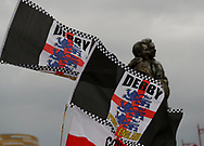 Derby County flags fly in front of the Brian Clough & Peter Taylor statue during the FA Cup match at the Pride Park Stadium, Derby. Picture date: 5th March 2020. Picture credit should read: Darren Staples/Sportimage