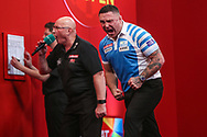 Gerwyn Price hits 180 and celebrates during the Ladrokes UK Open 2019 at Butlins Minehead, Minehead, United Kingdom on 1 March 2019.