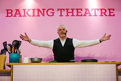 October 5, 2018 - London, London, United Kingdom - The Cake And Bake Show At ExCeL London. ..The Cake and Bake Show, the UK's biggest baking event opens its door at ExCeL London. .Paul Jagger prepared with 2 sea bass fillets and stuffed with a spinach stuffing, this puff pastry dish is a special version created for the show to look like a fish. (Credit Image: © Dinendra Haria/i-Images via ZUMA Press)