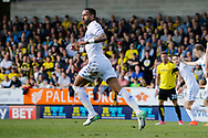 Leeds United defender Kyle Bartley (5) scores a goal 2-1 and celebrates during the EFL Sky Bet Championship match between Burton Albion and Leeds United at the Pirelli Stadium, Burton upon Trent, England on 22 April 2017. Photo by Richard Holmes.