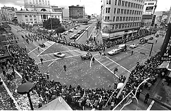 """Oakland Athletics victory parade including Charlie """"O"""" the mule in downtown Oakland, Oct 22,1973. The A's defeated the New York Mets for their 2nd World Series championship in a row. (photo by Ron Riesterer)"""