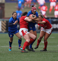 February 2, 2020, Cardiff, United Kingdom: Vittoria Minuzzi (Italy) seen in action during the women's Six Nations Rugby between wales and Italy at Cardiff Arms Park in Cardiff. (Credit Image: © Graham Glendinning/SOPA Images via ZUMA Wire)