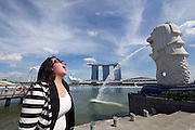 Singapore. Marina Bay Sands Hotel and Merlion.