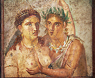 1 cent AD Roman Mythical Erotic  fresco from a house in Pompeii. Naples Archaological Museum inv no: 110590 .<br /> <br /> If you prefer to buy from our ALAMY PHOTO LIBRARY  Collection visit : https://www.alamy.com/portfolio/paul-williams-funkystock - Scroll down and type - Roman Art Erotic  - into LOWER search box. {TIP - Refine search by adding a background colour as well}.<br /> <br /> Visit our ROMAN ART & HISTORIC SITES PHOTO COLLECTIONS for more photos to download or buy as wall art prints https://funkystock.photoshelter.com/gallery-collection/The-Romans-Art-Artefacts-Antiquities-Historic-Sites-Pictures-Images/C0000r2uLJJo9_s0