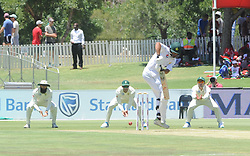 Pretoria 26-12-18. The 1st of three 5 day cricket Tests, South Africa vs Pakistan at SuperSport Park, Centurion. Day 1. Pakistan batsman Shan Masood hits the ball back towards the wicket keeper. Picture: Karen Sandison/African News Agency(ANA)