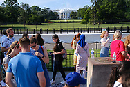 WASHINGTON - JUNE 30, 2019: Visitors gather in front of The White House on The Ellipse on June 30, 2019, in Washington, D.C.