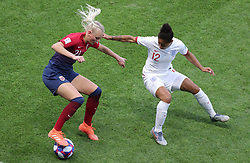 Norway's Karina Saevik (left) and England's Demi Stokes battle for the ball during the FIFA Women's World Cup, Quarter Final, at Stade Oceane, Le Havre, France.