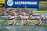 Seville. Andalusia. SPAIN.  Men's Four M4-. CRO M4- Branko BEGOVIC (b) , Marin BEGOVIC (2) , Vjekoslav KOLOBARIC (3) , Ante JANJIC (s).   at the start pontoon. 2013 FISA European Rowing Championship.  Guadalquivir River.  Friday  31/05/2013.  [Mandatory Credit. Peter Spurrier/Intersport]