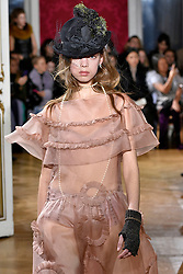 Model walks on the runway during the John Galliano Fashion Show during Paris Fashion Week Womenswear Fall Winter 2018-2019 held in Paris, France on March 4, 2018. (Photo by Jonas Gustavsson/Sipa USA)