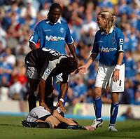 Fotball<br /> Foto: SBI/Digitalsport<br /> NORWAY ONLY<br /> <br /> Date: 21/08/2004.<br /> Birmingham City v Chelsea FA Barclays Premiership.<br /> <br /> Robbie Savage pleads his innocence after fouling Mateja Kezman
