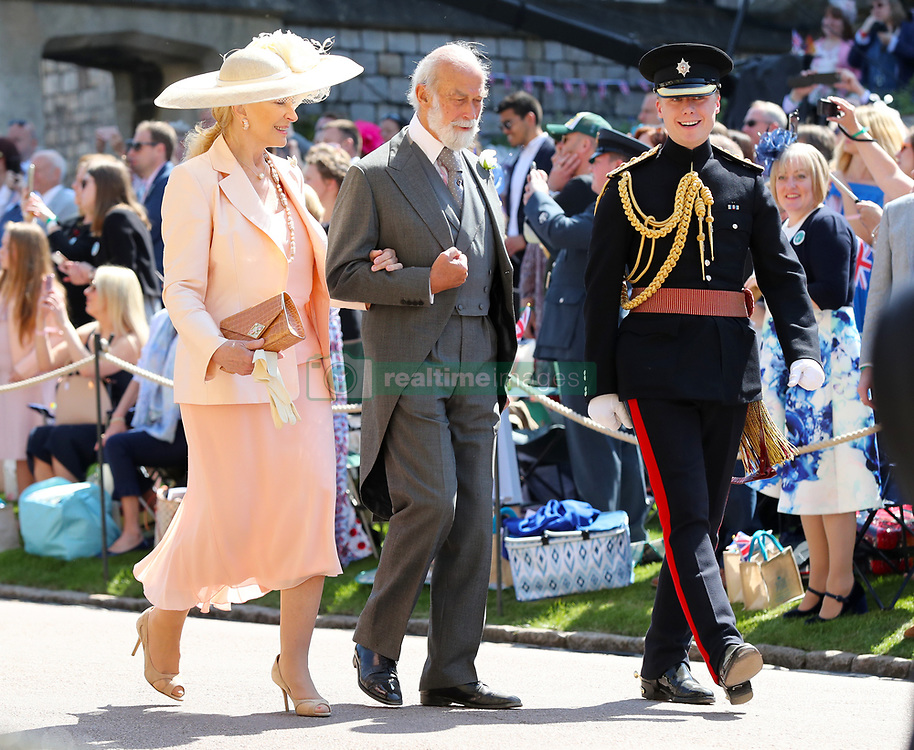 Prince Michael of Kent (centre) and Princess Michael of Kent arrives at St George's Chapel at Windsor Castle for the wedding of Meghan Markle and Prince Harry.