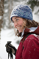A smiley telemark skier enjoys the day in the Vermont backcountry.
