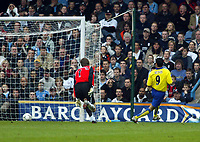 Photo. Chris Ratcliffe<br /> Fulham v Arsenal. FA Premiership. 09/05/2004<br /> jose antono reyes scores the 1st for Arsenal as van de saar s stranded