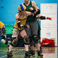 MRD Furies take on Spa Town Roller Derby in the opening bout at Salford University Sports Centre, Salford, United Kingdom, 2018-05-05