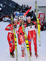 Marit Bjoergen (NOR), Petra Majdic (SLO) und Celine Brun-Lie (NOR). © Werner Schaerer/EQ Images