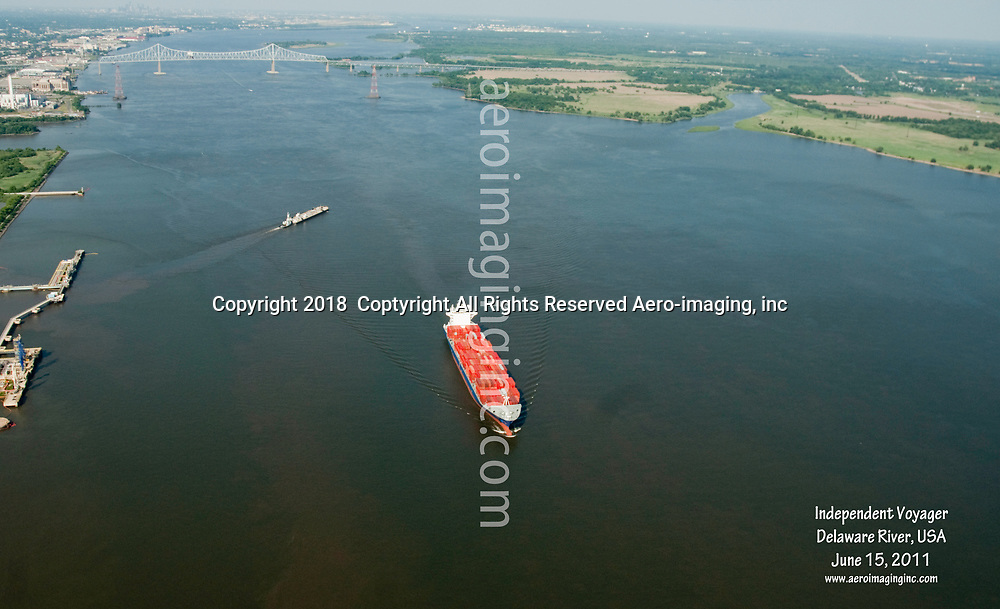 Aerial view off Container ship, independent  Voyager, Delaware  river