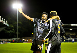 Joe Dodoo of Leicester City celebrates after scoring his sides fourth goal and his hat-trick - Mandatory byline: Matt McNulty/JMP - 07966386802 - 25/08/2015 - FOOTBALL - Gigg Lane -Bury,England - Bury v Leicester City - Capital One Cup - Second Round