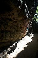 Holleigh Cain Bouldering at Sand Rock, Alabama