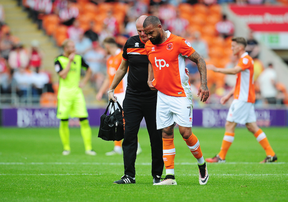 Blackpool's Kyle Vassell leaves the field due to injury<br /> <br /> Photographer Kevin Barnes/CameraSport<br /> <br /> Football - The EFL Sky Bet League Two - Blackpool v Exeter City - Saturday 6th August 2016 - Bloomfield Road - Blackpool<br /> <br /> World Copyright © 2016 CameraSport. All rights reserved. 43 Linden Ave. Countesthorpe. Leicester. England. LE8 5PG - Tel: +44 (0) 116 277 4147 - admin@camerasport.com - www.camerasport.com