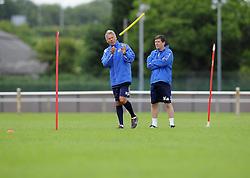Bristol Rovers Manager, John Ward and Bristol Rovers assistant manager, Darrell Clarke talk  - Photo mandatory by-line: Joe Meredith/JMP - Tel: Mobile: 07966 386802 24/06/2013 - SPORT - FOOTBALL - Bristol -  Bristol Rovers - Pre Season Training - Npower League Two