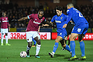 Wimbledon defender Paul Kalambayi (30) and Wimbledon defender Will Nightingale (5) in action during the The FA Cup fourth round match between AFC Wimbledon and West Ham United at the Cherry Red Records Stadium, Kingston, England on 26 January 2019.